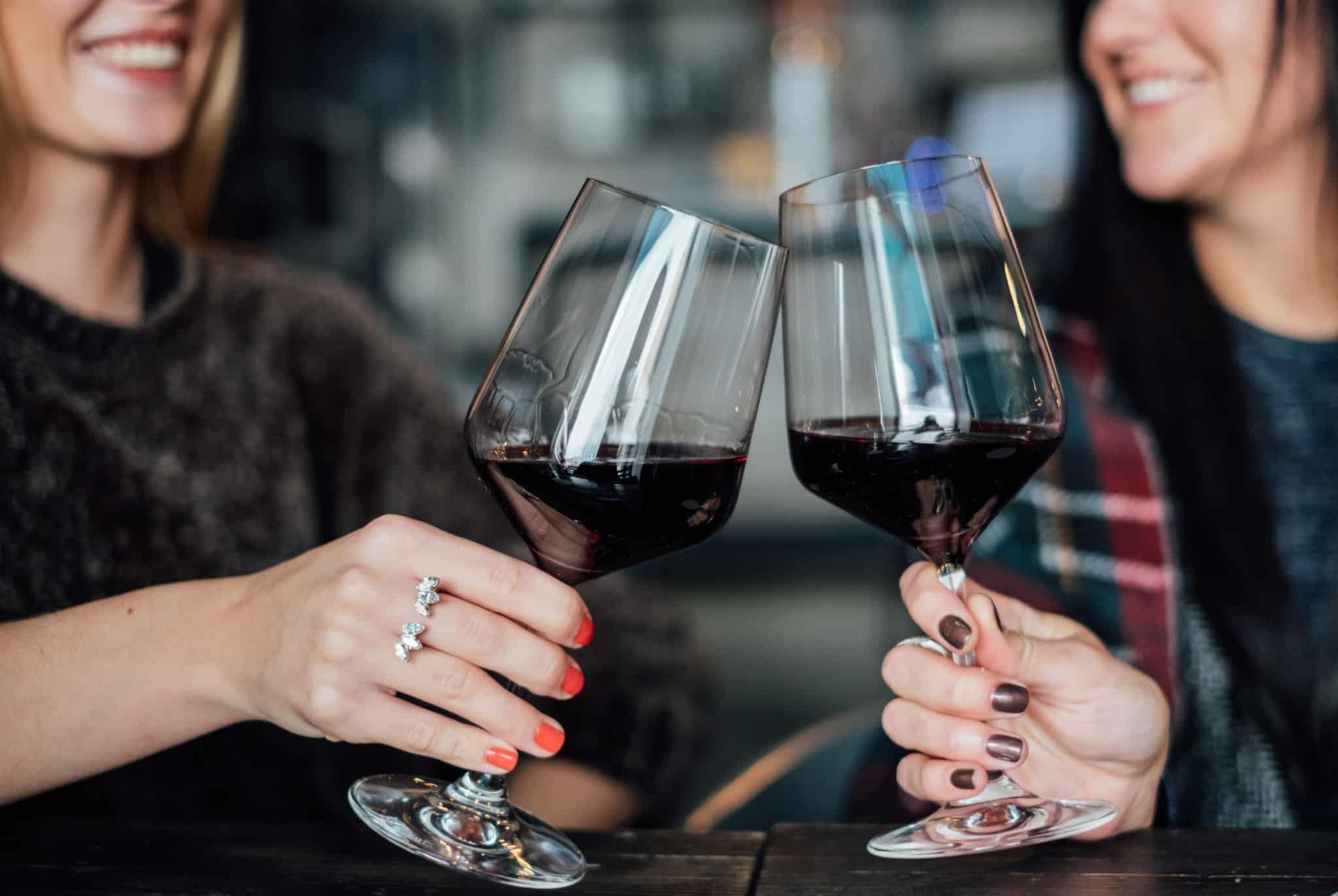 duas mulheres a brindar com um copo de vinho
