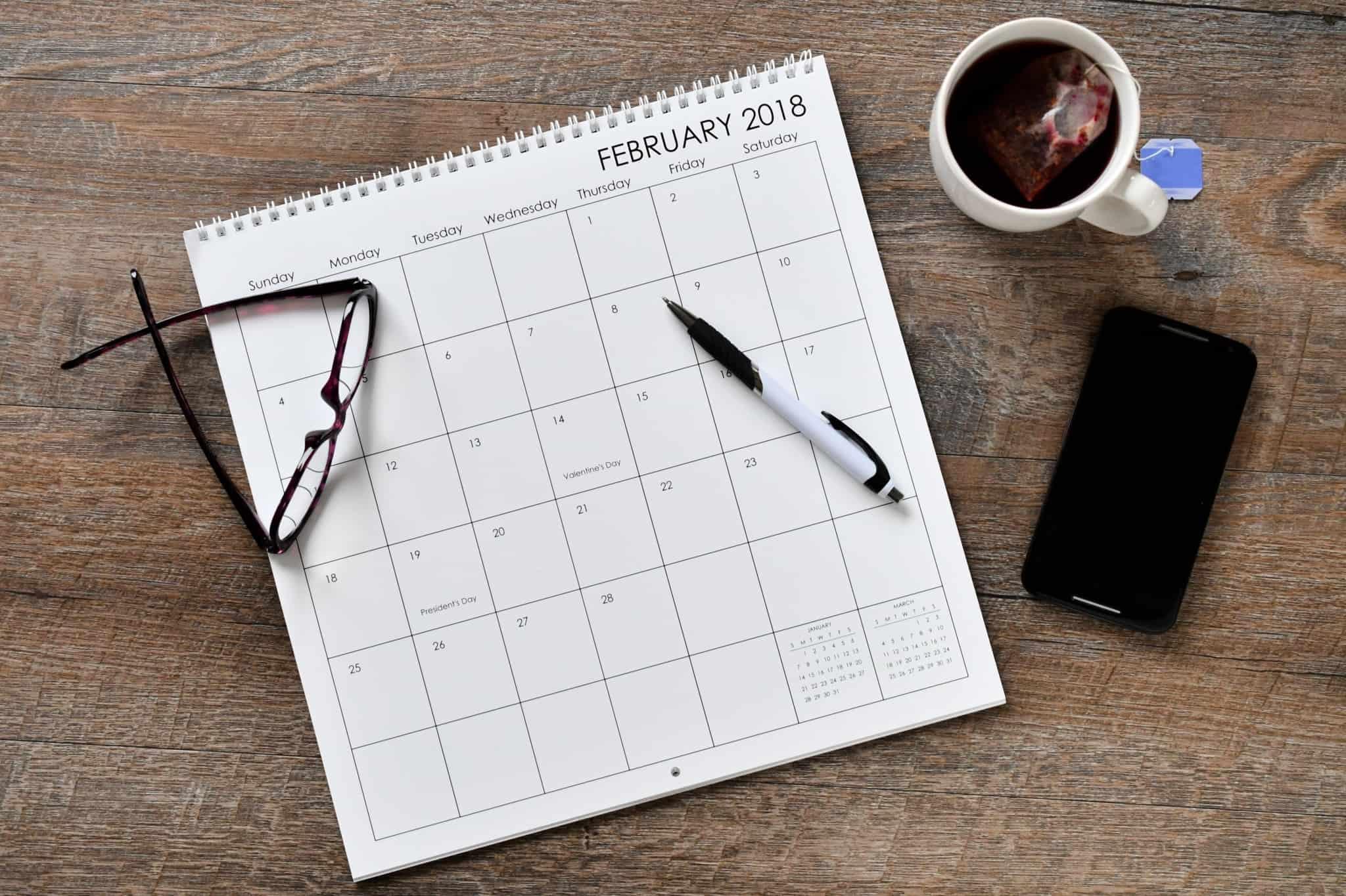 calendario com fevereiro 2018