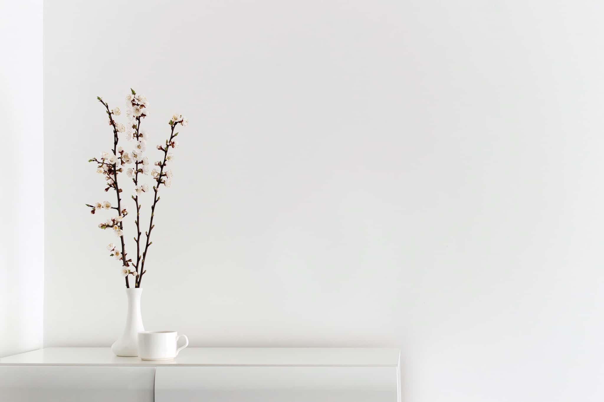tendência minimalista uma parede branca e um vaso branco com flores